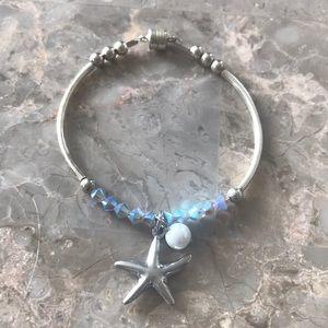 Petite Silver Colored Crystal Starfish Bracelet
